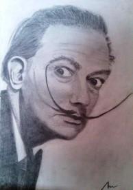 imagen de retrato en grafito sobre papel ingres