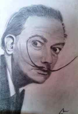 imagen de Salvador Dali en grafito y Carboncillo