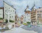 imagen de acuarela plaza Puerta Cerrada