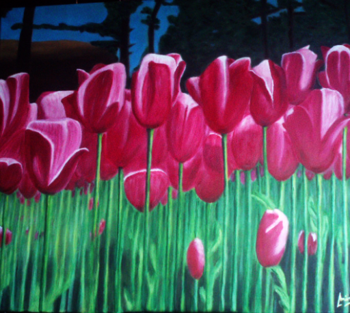 imagen de cuadro oleo Mirelu. Título: Tulipanes