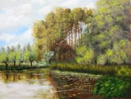 imagen de oleo sobre tabla Lago en Naturaleza