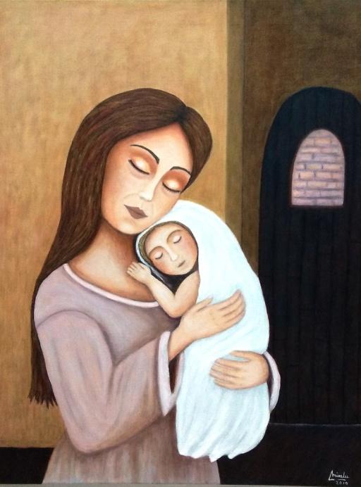 Imagen cuadro original Mirelu figura humana Maternidad