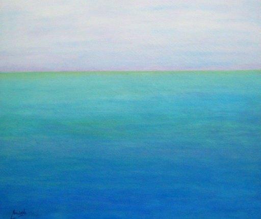 imagen cuadro Mar Caribe. mixta oleo y acrilico sobre lienzo