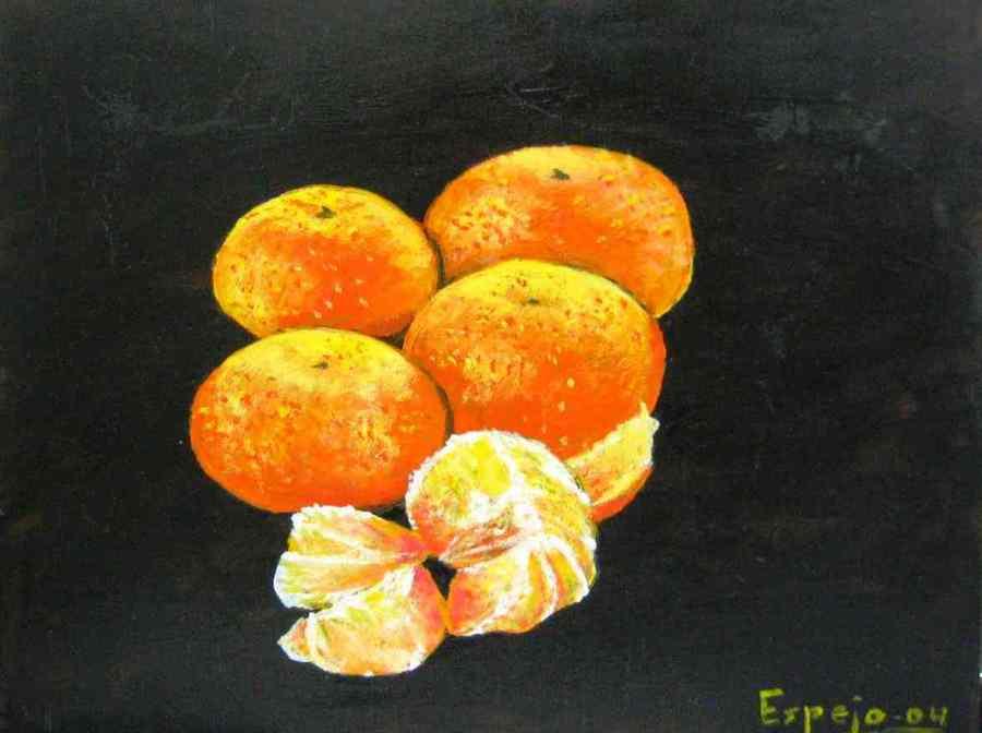 Imagen de Oleo en Tabla Realista Mandarinas