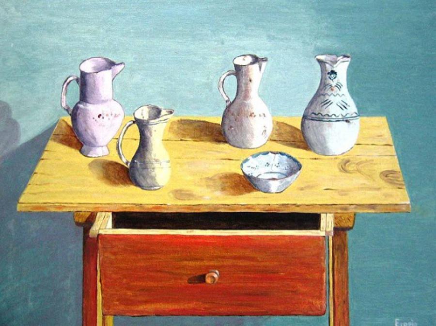 Imagen de Oleo sobre tabla Realista Jarras de Porcelana