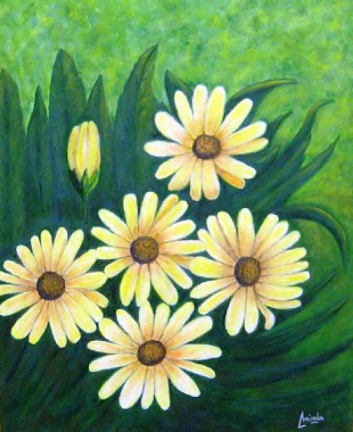 imagen cuadro  Margaritas amarillas Mixta Acrilico y oleo