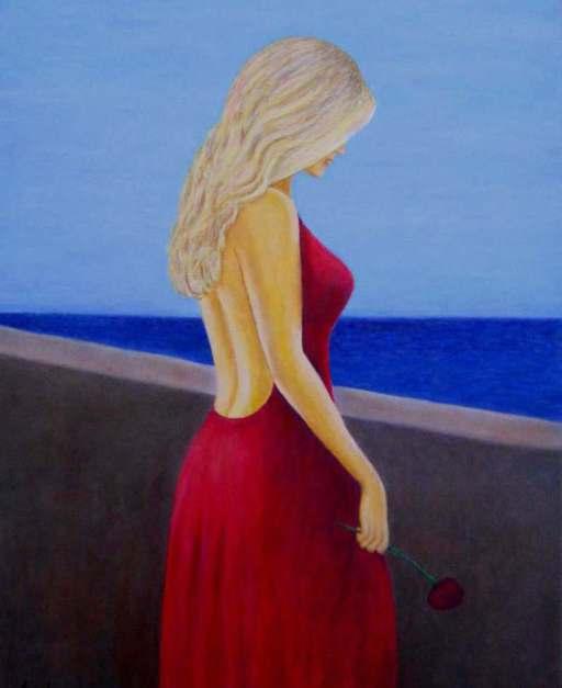 "imagen cuadro oleo Mirelu ""Mirando al Mar"""