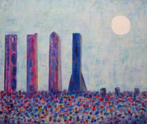imagen cuadro Cuatro Torres Madrid acrilico sobre lienzo