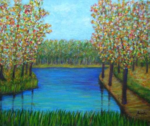 imagen de cuadro Bosque de Colores en acrilico y oleo