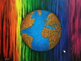 imagen de cuadro original Mirelu. Título: Universo en Pixeles de Color