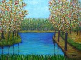 imagen de cuadro acrilico Mirelu. Título: Bosque de Colores.