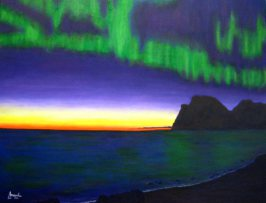 imagen de cuadro oleo Mirelu. Título: Aurora Boreal.
