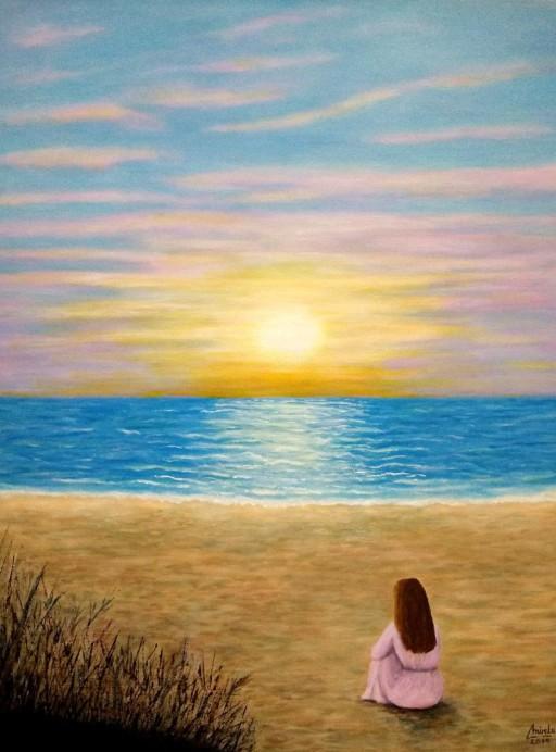 """Imagen de cuadro original Mirelu """"Disfrutando el Oceano"""""""