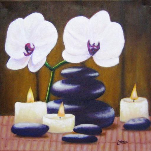 imagen de cuadro oleo Mirelu. Título: Orquideas