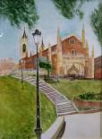 Imagen de la iglesia de Los Gerónimos. Madrid. Acuarela