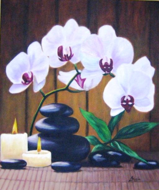 imagen de cuadro oleo Mirelu. Título: Ramo de Orquideas